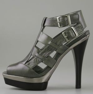 PELLE Moda Black / Silver Platform Leather Sandals